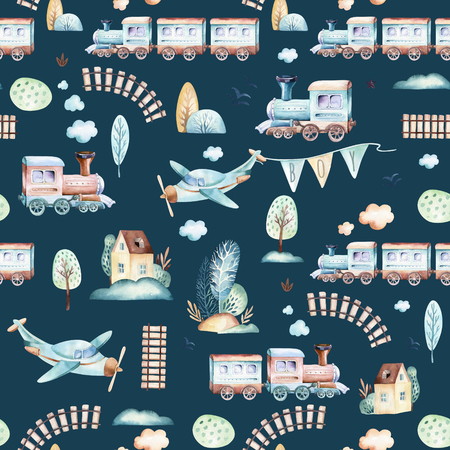 Baby boys world. Cartoon airplane, plane and waggon locomotive watercolor illustration pattern. Child toys birthday backgraund transport elements seamless patterns