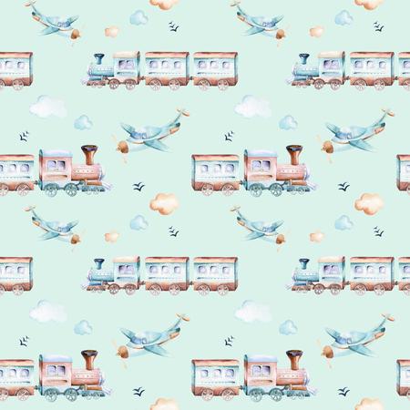 Baby boys world. Cartoon airplane, plane and waggon locomotive watercolor illustration pattern. Child toys birthday backgraund transport elements seamless patterns