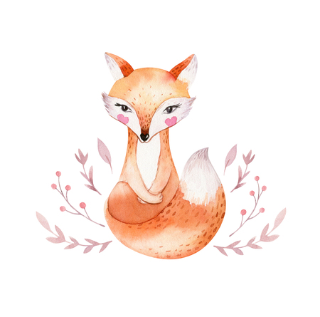 Cute baby fox, deer animal nursery rabbit and bear isolated illustration for children. Watercolor boho forest drawing, watercolour, hedgehog image Perfect for nursery posters 免版税图像