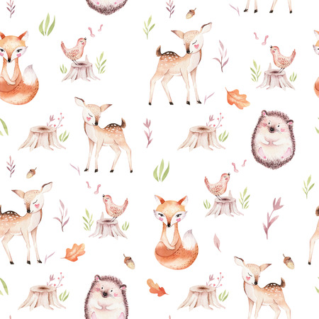 Cute baby fox, deer animal nursery rabbit and bear isolated illustration for children. Watercolor boho forest drawing, watercolour, hedgehog image Perfect for nursery posters, patterns