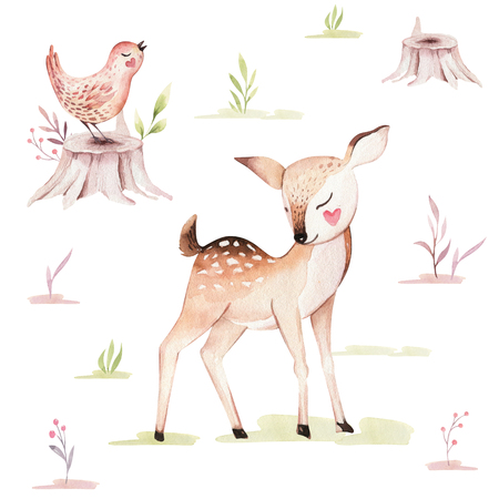 Cute baby fox, deer animal nursery rabbit and bear isolated illustration for children. Watercolor boho forest drawing, watercolour, hedgehog image Perfect for nursery posters Stock Photo