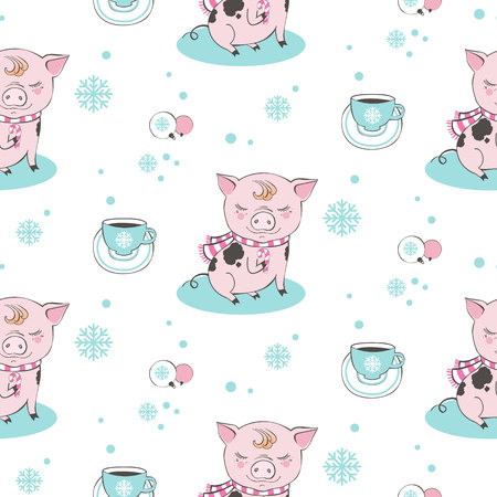 Set of cute pig farm cartoon pattern characters. Chinese symbol of the 2019 year. Happy New Year. Cute animal illustration. Çizim