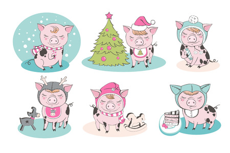Set of cute pig farm cartoon characters. Chinese symbol of the 2019 year. Happy New Year. Cute animal illustration. Çizim