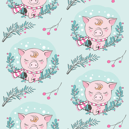 Set of cute pig farm cartoon pattern characters. Chinese symbol of the 2019 year. Happy New Year. Cute animal illustration. Foto de archivo - 110273517