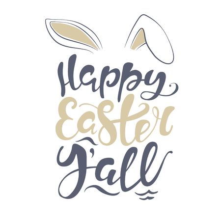 bunny kisses Easter wishes. Happy Easter lettering card. quote to design greeting card, poster, banner, printable wall art, t-shirt and other, vector illustration.