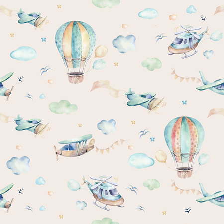 Watercolor set background illustration of a cute cartoon and fancy sky scene complete with airplanes, helicopters, plane and balloons, clouds. Boy seamless pattern. Its a baby shower design