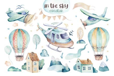 Acquerello set illustrazione dello sfondo di un simpatico cartone animato e fantasia cielo scena completa di aeroplani, elicotteri, aereo e palloncini, nuvole. Modello senza cuciture del ragazzo. È un design per la doccia per bambini