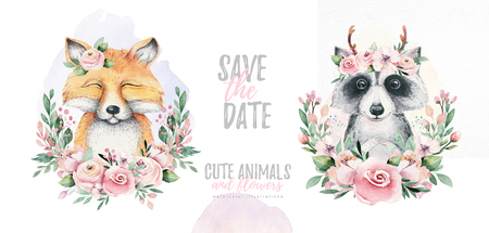 Watercolor cartoon isolated cute baby fox and raccoon animal with flowers. Forest nursery woodland illustration. Bohemian boho drawing for nursery poster, pattern