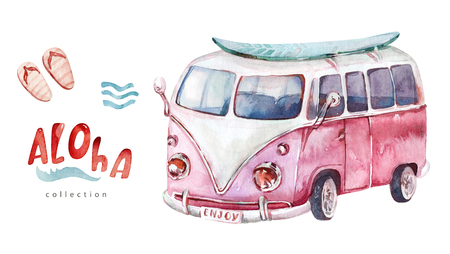 Watercolor surf beach, adventure bike and motorollier, fun holiday activity, tropical travel illustration. Island summer, retro car and surfboard.