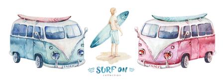 Watercolor Surfing vacation. Summer ocean beach wirh surfboard car. california surf design