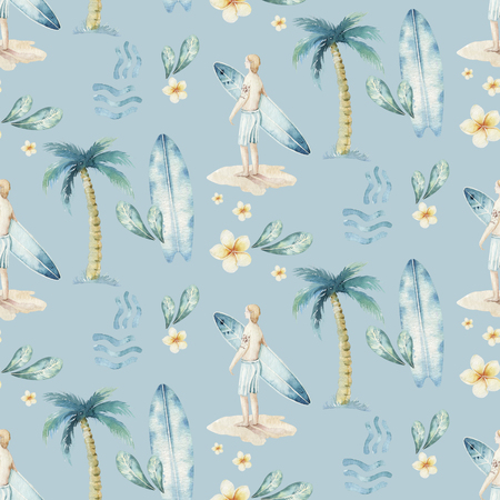 Watercolor style seamless surfing pattern of surf man and woman surfers silhouettes with surfboard wave background. Ocean surfing summer design