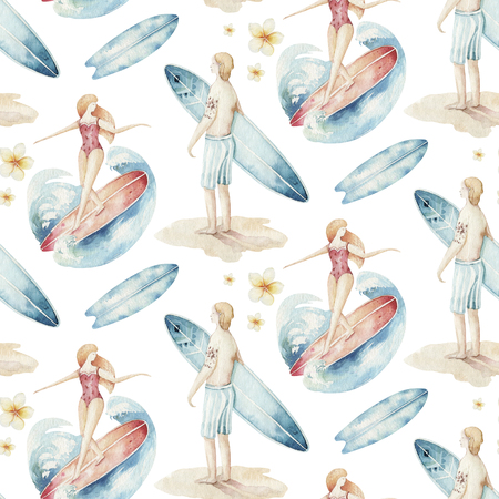 Watercolor style seamless surfing pattern of surf man and woman surfers silhouettes with wave background. Ocean surfing summer design Imagens