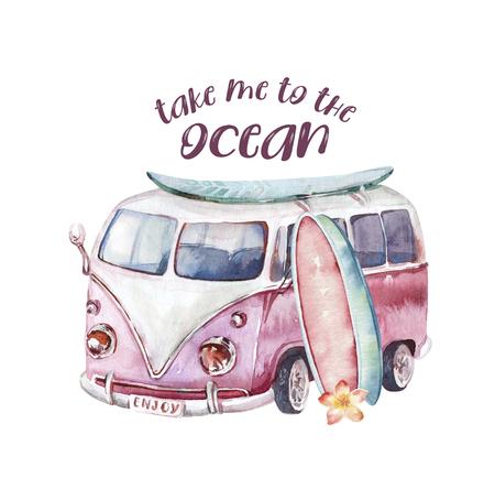 Watercolor ocean surf beach, adventure, bike and motorollier, fun holiday activity, tropical travel illustration. Island summer, retro car and surfboard.