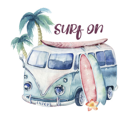 Watercolor ocean surf beach, adventure, bike and motorollier, fun holiday activity, tropical travel illustration. Island summer, retro car and surfboard.