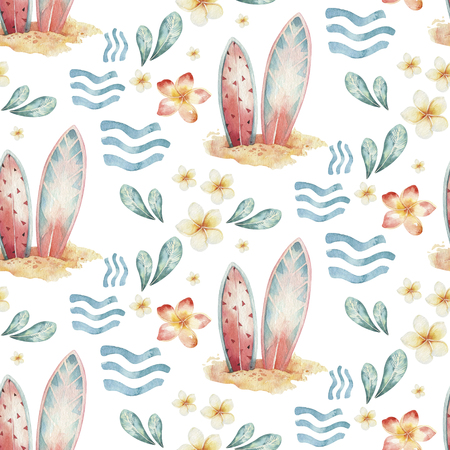Watercolor style seamless surfing pattern of surf man and woman surfers silhouettes with wave background. Ocean surfing summer design 写真素材