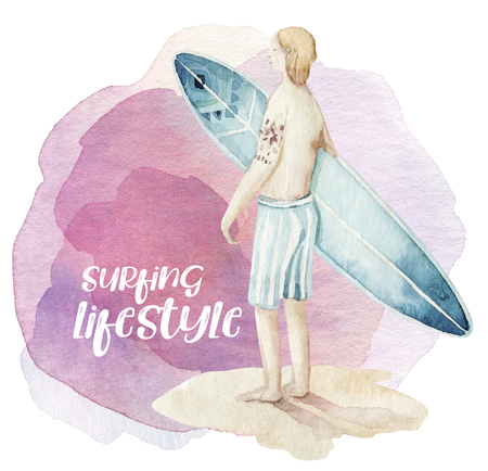 Watercolor style set of surf man and woman surfers silhouettes with wave. Ocean summer wave design Isolated on white background
