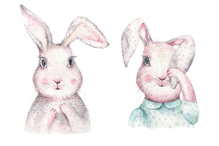 Hand drawing easter watercolor cartoon bunnies with leaves, branches and feathers. indigo Watercolour rabbit holiday illustration in vintage boho style. bunny card. Фото со стока