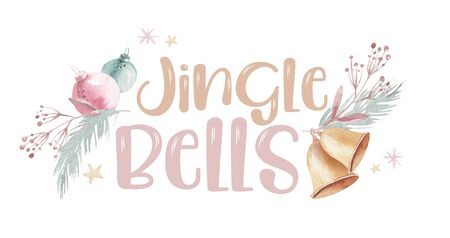 Watercolor christmas jingle bells illustration. Christmas bell and merry chistmas quote, template for the design of posters, cards, invitations. New year illustration card. Isolated 스톡 콘텐츠
