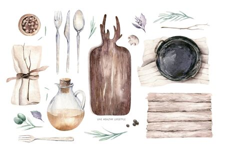 Table setting, top view. Watercolor hand drawn illustrations type of plate, fork, spoon, knife, wooden cuttig board, pan, wooden backgraund texture. Olive oil, paper and textile napkin service.