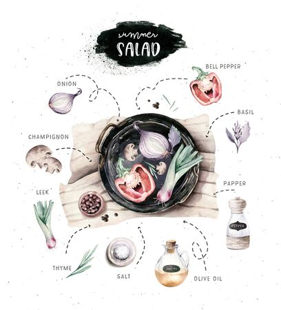 Vegetables healthy organic watercolor greens menu on black Cast-iron pan with bell pepper, leek, onion and avocado vitamin rosemary illustration. Isolated lettuce and radish. sketch eggplant mushroom Banco de Imagens