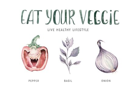 Vegetables healthy green organic set hand drawn watercolor diet menu with artichoke, broccoli, spinach, celery vitamin. Cabbage, leek and onion illustration. Isolated lettuce and radish. Squash beas