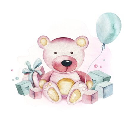 Baby shower kid bear watercolor girl design elements. Set of baby pink birthday illustration. Newborn party invitation