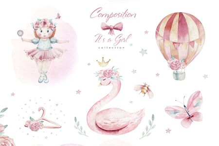 Baby shower kid swan watercolor girl design cartoon elements. Set of baby pink birthday balloon toy dress illustration. Newborn party invitation
