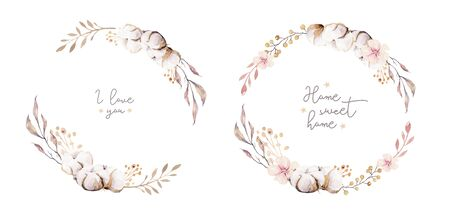 Watercolor boho floral wreath. Bohemian natural frame: cotton flowers, willow flowers leaves. Isolated on white background. Decoration illustration. Save the date, weddign design, valentine's day 免版税图像 - 140287701