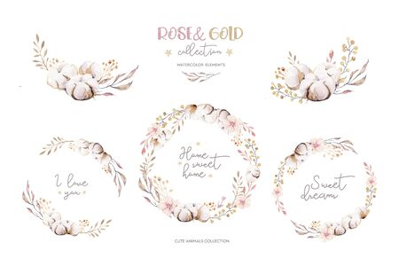 Watercolor boho floral wreath. Bohemian natural frame: cotton flowers, willow flowers leaves. Isolated on white background. Decoration illustration. Save the date, weddign design, valentines day