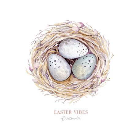 Watercolor happy easter nest with bird eggs with branch and feather isolated on white. Spring hand drawn illustration. Boho egg ans feather nests wreath. Holiday decoration