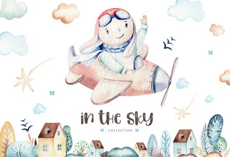Watercolor set baby cartoon cute pilot aviation background illustration of fancy sky transport complete with airplanes balloons, clouds. childish Boy pattern. Its a baby shower illustration