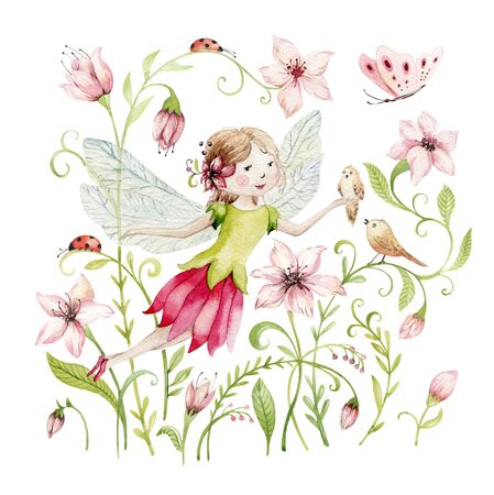 Cute Fairy character watercolor illustration on white background. Magic fantasy cartoon pink fairytale design. Baby girl birthday Foto de archivo