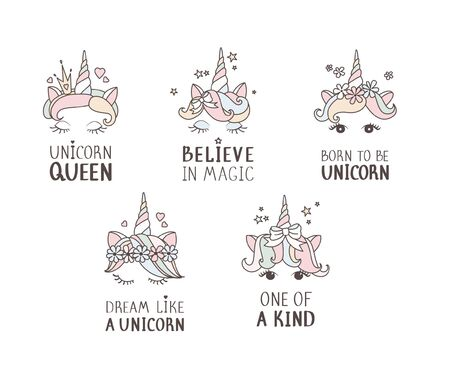 Hand drawn unicorn face set. Quotes for baby clothes. One of a kind. Born to be unicorn. Believe in magic. Unicorn queen. Cute nursery art drawing. Vector illustration.