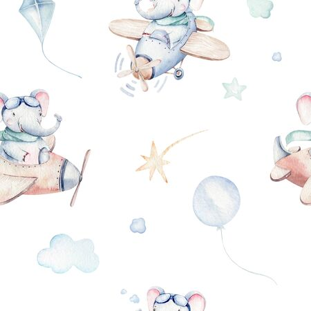 Watercolor set background illustration of a cute and fancy sky scene complete with airplanes, helicopters and balloons, clouds. Boy pattern. It's a baby shower illustration 免版税图像