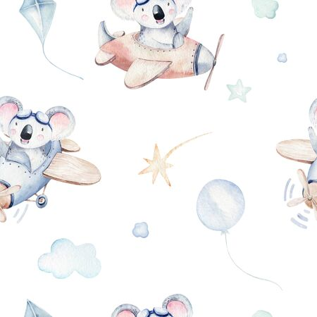 Watercolor set baby cartoon cute pilot aviation background illustration of fancy sky transport complete with airplanes balloons, clouds. childish Boy pattern. Its a baby shower illustration Foto de archivo