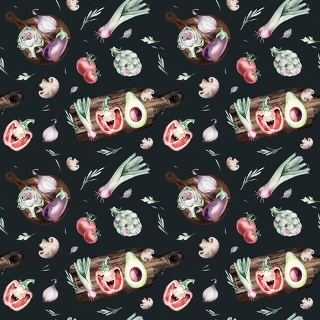 watercolor vegetables seamless pattern of fresh artichoke , bell pepper and avocado veggies . eggplate, leek and broccoli Fabric vegetarian nature green background illustration Banque d'images