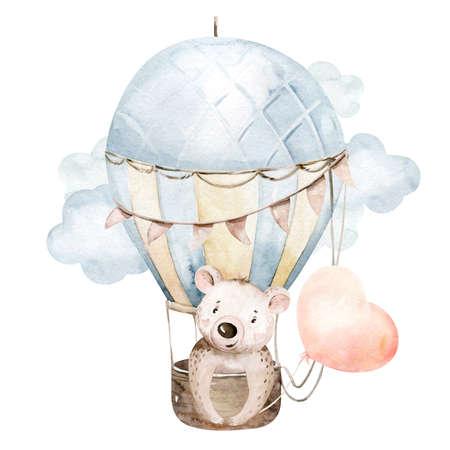 Cute cartoon baby bear animal hand drawn watercolor bunny illustration with air balloon. kids nursery wear fashion design, baby shower invitation card
