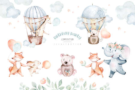 Cute baby air balloon birthday party nursery watercolor dancing fox, elephant and bunny, crocodile, giraffe nad bear rabbit animal isolated illustration for children baby shower. Tropical forest and jungle nursery posters Stockfoto