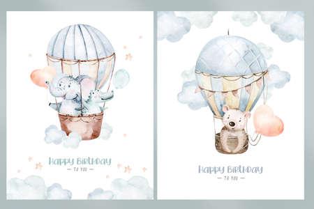 Cute dreaming cartoon rabbit animal hand drawn watercolor bunny illustration. kids nursery wear fashion design, baby shower invitation card.