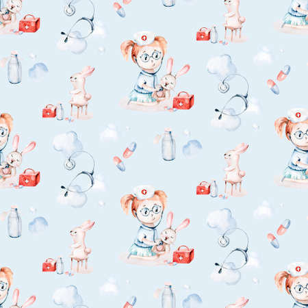 Cute cartoon animal doctor, pills, ambulance, mask, bacteria, viruses, coronavirus. Watercolor hand drawn boy and girl doctor set. 版權商用圖片