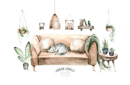 Vintage interior bohemian background with mid century modern furniture,Interior Decor Scene.Cozy living room with houseplant,rug,greenery chair.Watercolor illustration.Housewarming print.Stay at home