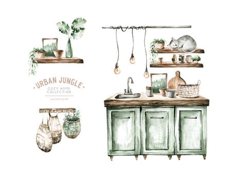 Hand paint watercolor scandinavian modern kitchen set. Isolated furniture for interior. Food theme. Vintage interior bohemian background with mid century modern furniture Interior Decor Scene.Cozy Stay at home.