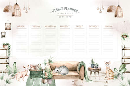 Watercolor trendy interior bohemian weekly planner with mid century modern furniture. Interior hugge Decor Scene. Cozy living room with houseplant, Urbun jungle Watercolor illustration. Stay at home