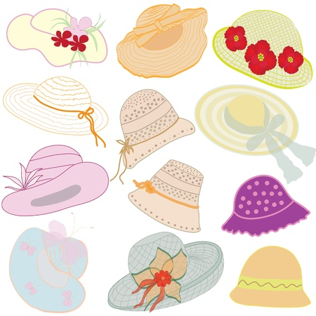 Collection of hats for woman Stock Vector - 9147814