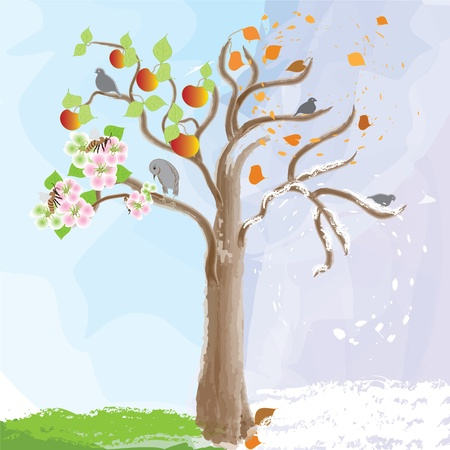 Abstract apple tree as symbol of  seasonal changes Illustration