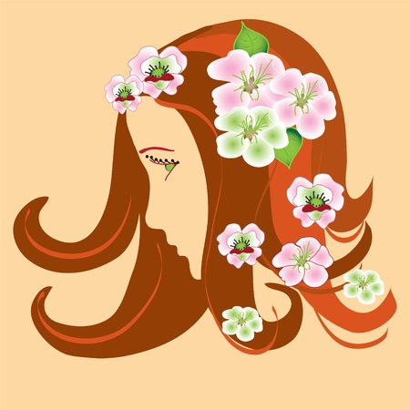 Girl stylized profile with spring apple flowers  Vector