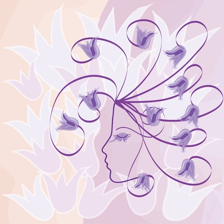 Profile of girl with bells on watercolor background Vector
