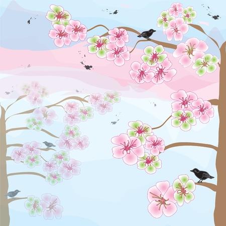 꽃이 만발한: Blossoming apple tree on sunrise background