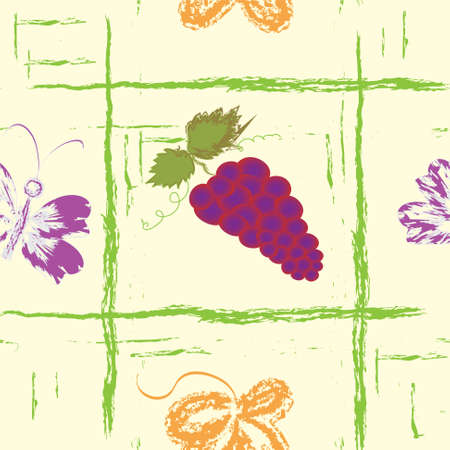 Seamless grunge pattern with bunch of grapes, butterfly and leaf Vector