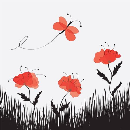 Cartoon landscape with poppies , butterfly and grass Stock Vector - 9199535